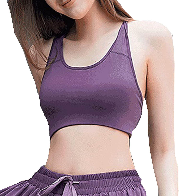 Mnyycxen Women's Sleeveless Plain Yoga Sport Racerback Casual Slim Vest with Built Crop Tank Tops