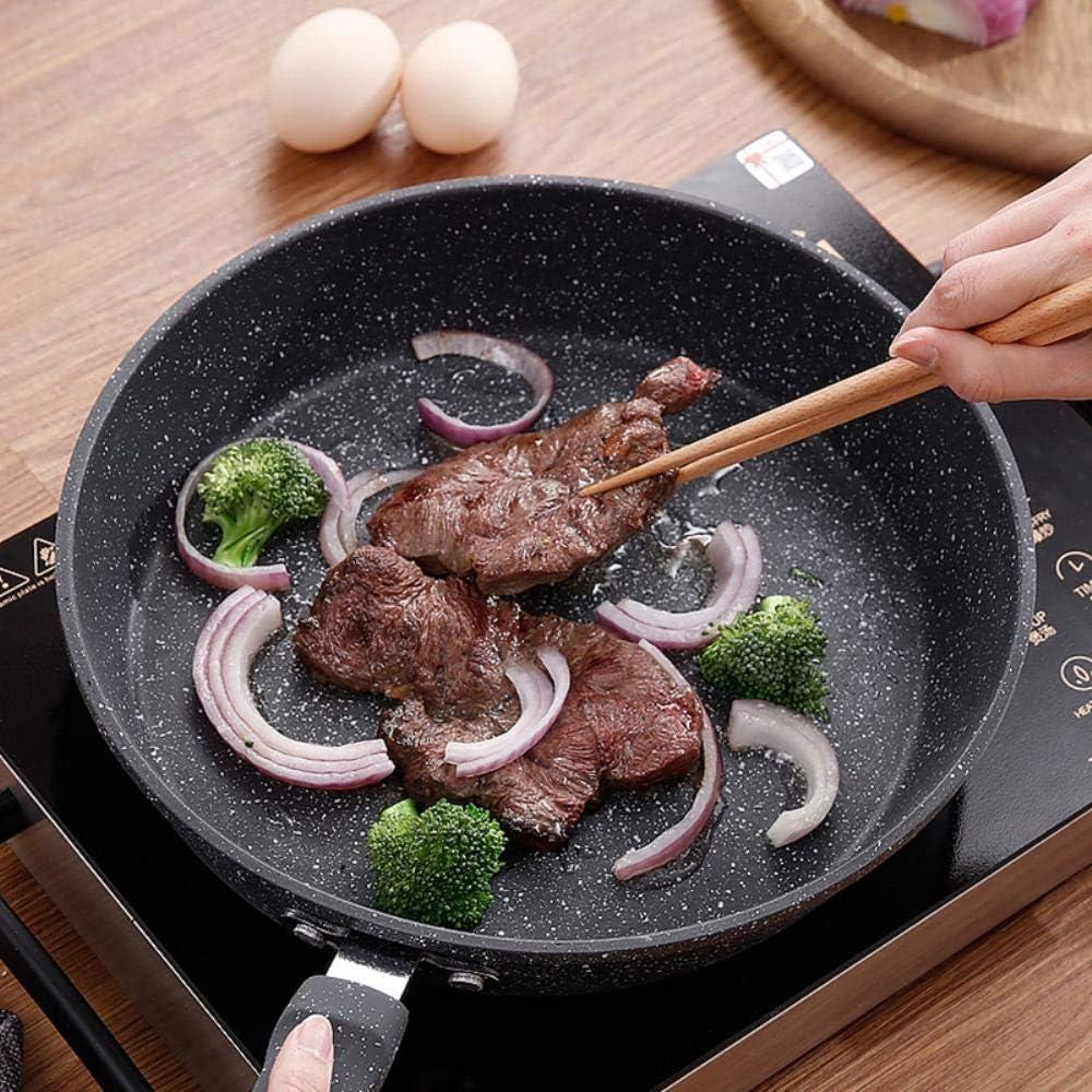 PKJP 21CM Poêles à Frire antiadhésives Cuisine Cuisson en Alliage d'aluminium Skillets du Chef pour cuisinière à gaz et à Induction, sans Couvercle Without Lid