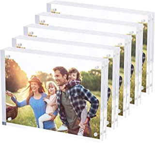 SimbaLux Magnetic Acrylic Picture Photo Frame 5x7 inches 24mm Thick (5 Pack), Clear Glass Like, Double Sided Frameless Desktop Floating Display, Free Standing, Easy to Change, 20% Thicker Than Most
