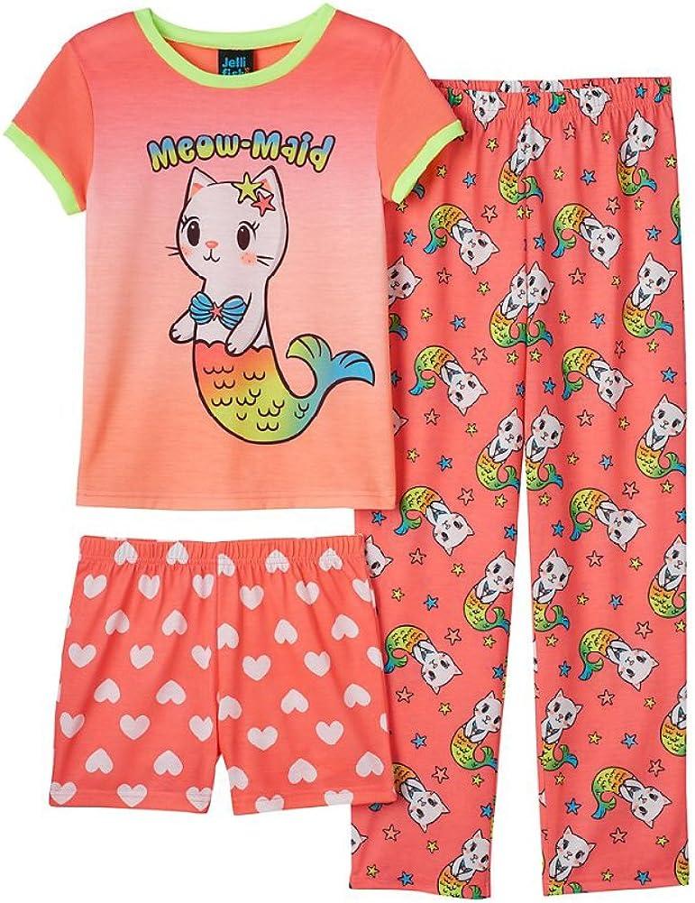 Jelli Fish Kids Girls 3-pc Graphic Tee, Pants, Shorts Pajama Sleepwear Set (Small (6/6X), Coral Meow Maid)
