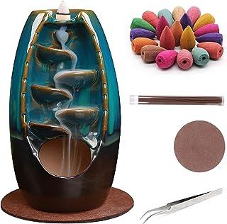 AOBBIY Ceramic Backflow Incense Holder - Aromatherapy & Home Decor, Portable Burner, Includes 120 Backflow Incense Cones &...