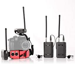 Microphone Bundle for Interview Dialog Vlog, Saramonic Wireless Lavalier Microphone System 2 Transmitters and 2 Receivers with Audio Mixer SR-PAX2 for DSLR Camera Camcorders