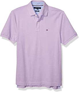 Tommy Hilfiger Men's Short Sleeve Polo Shirt in Classic Fit, African Violet Heather, LG