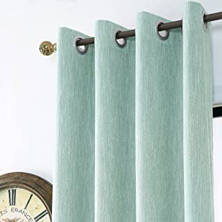 Melodieux Texture Blackout Thermal Insulated Grommet Top Curtains/Drapes for Bedroom, 52 by 96 Inch, Blue (1 Panel)