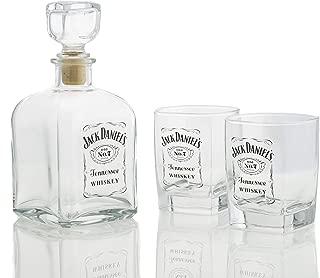 M. Cornell Jack Daniel's Bottle Design 3 Piece Decanter & Double Old Fashioned Glasses Set