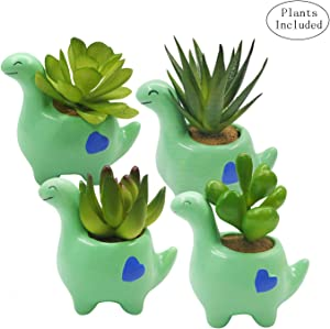 JIUCHEN Artificial Succulent Plants in Cute Animal Planter Faux Succulent in Small Green Dinosaur Ceramic Planter Pots,Set of 4