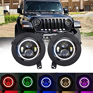 BEATTO 7 Inch RGB LED Headlights with 9inch Adapter Plate for Jeep Wrangler JL Direct Fitment High Low Beam Function Mobile Phone APP Bluetooth Remote Halo Angel Eyes Headlight with DRL