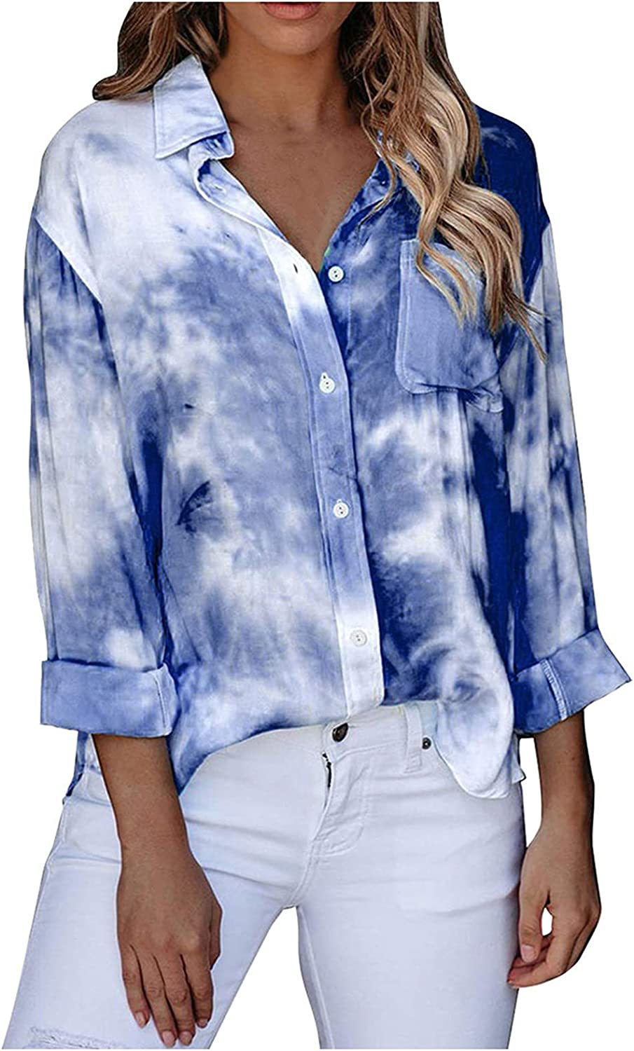 Womens Button Down V Neck Shirts Long Sleeve Blouse Roll Up Cuffed Sleeve Casual Tie Dye Tops with Pockets