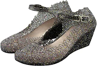 Paul Kevin Women's Jelly Wedge Crystal Sandals High Heels Glass Slipper Shoe
