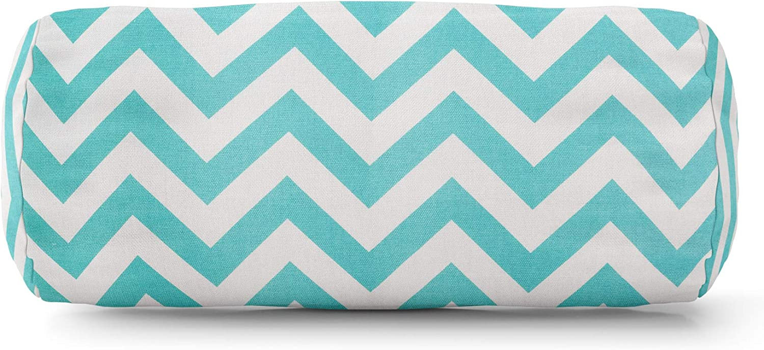 Majestic Home Goods Chevron Round Bolster Pillow, Teal