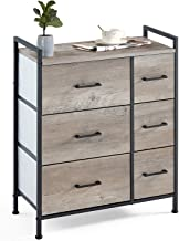 Linsy Home Drawer Dresser,Industrial Wide Storage Tower with Fabric Drawer,Wood Top and Front, Metal Frame for Living Room...