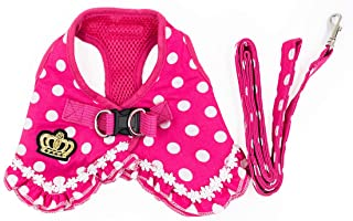 AUEAR, M Size Puppy Cat Small Girl Dog Dots Vest Harness Leash Set Pet Soft Mesh Frills Dots Vest for Puppy Small Girl Dogs and Cats