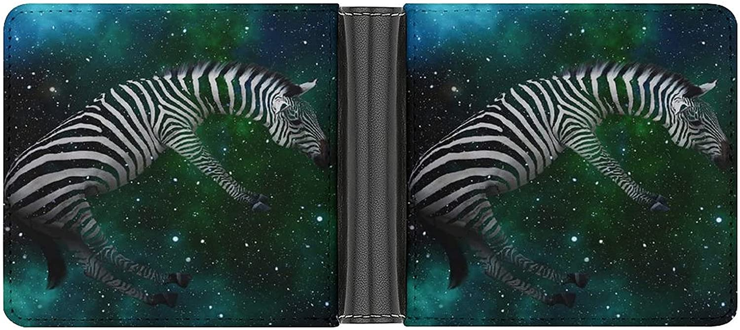 Mens Womens Slim Wallet,The Space Zebra ,With ID Window Money Clip RFID Blocking Bifold Credit Card Holder Front Pocket