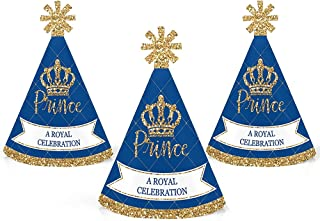 Royal Prince Charming - Mini Cone Baby Shower or Birthday Party Hats - Small Little Party Hats - Set of 10