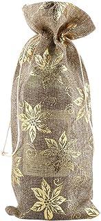 Haokaini 8Pcs Sac de Vin Simple Tissu de Lin Sac Décoratif Décor de Vacances Fournitures de Fête