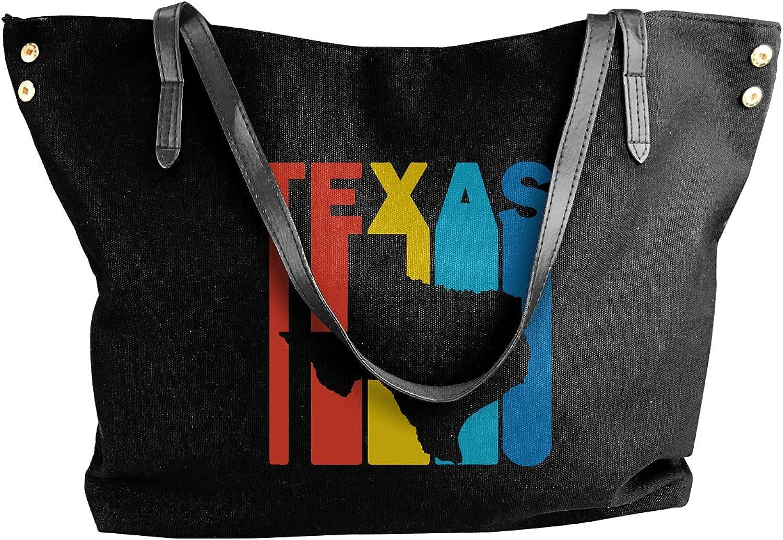 Texas Retro 1970's Style Women'S Recreation Canvas Handbag For Work Big Shopping Bag