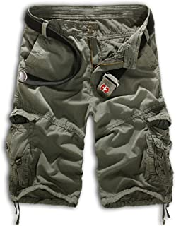 Mens Casual Slim Fit Cotton Solid Multi-Pocket Cargo Camouflage Shorts