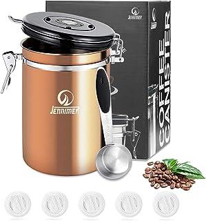 JENNIER kaffe rostfritt stål behållare stor med genomskinlig fönsterbehållare färskbönor och skäl för längre behållare med...