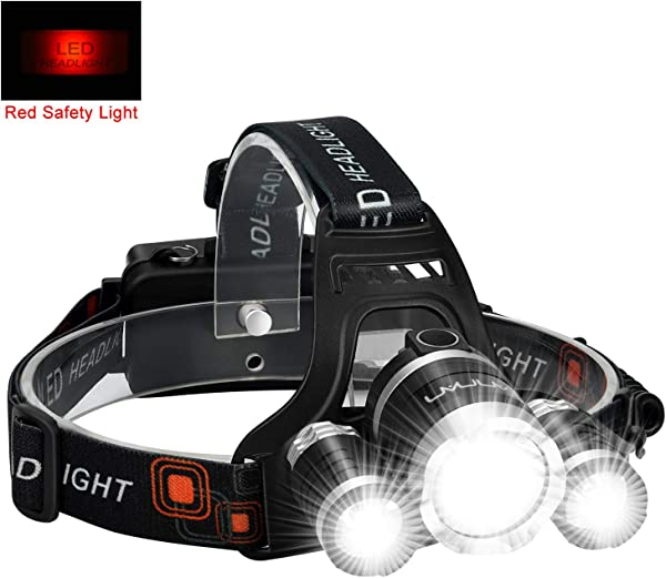 LED Headlamp Flashlight Kit ANNAN 8000 Lumen Extreme Bright Headlight With Red Safety Light 4 Modes Waterproof Portable Light For Camping Biking 2 Rechargeable Lithium Batteries Included