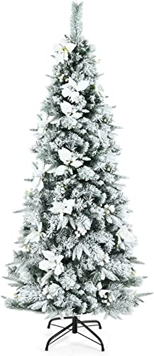lowest Goplus Snow sale Flocked Pencil Christmas outlet online sale Tree, 6FT Hinged Artificial Skinny Xmas Tree with White Berries, Poinsettia Flowers and Folding Metal Stand, Perfect for Holiday Indoor Décor online