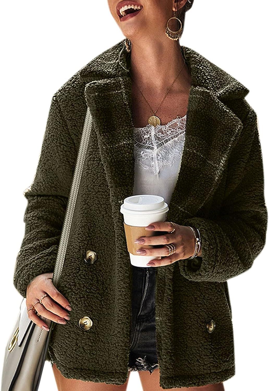 Goldweather Women Faux Plush Winter Coats Warm Plaid Stitching Open Front Sherpa Lapel Cardigan Jacket Outerwear with Pocket