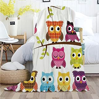 Ylljy00 Nursery,Throw Blankets,Flannel Plush Velvety Super Soft Cozy Warm with/Set of Patchwork Quilt Style Owls on Branches with Green Leaves Bird Mascots Print/Printed Pattern(60
