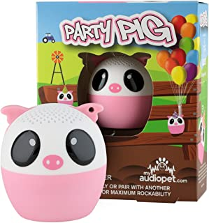 My Audio Pet Pig Mini Bluetooth Animal Wireless Speaker for Kids of All Ages - True Wireless Stereo Technology – Pair with Another TWS Pet for Powerful Rich Room-Filling Sound - (Party Pig)