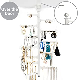 All Hung Up 12-Tier ~ Extra Capacity ~ Save Space ~ Over The Door OR Wall Mounted Jewelry Organizer Holder ~ Display Everything ~ Long Necklaces, Earrings (110 Pairs), Rings, Bracelets - White