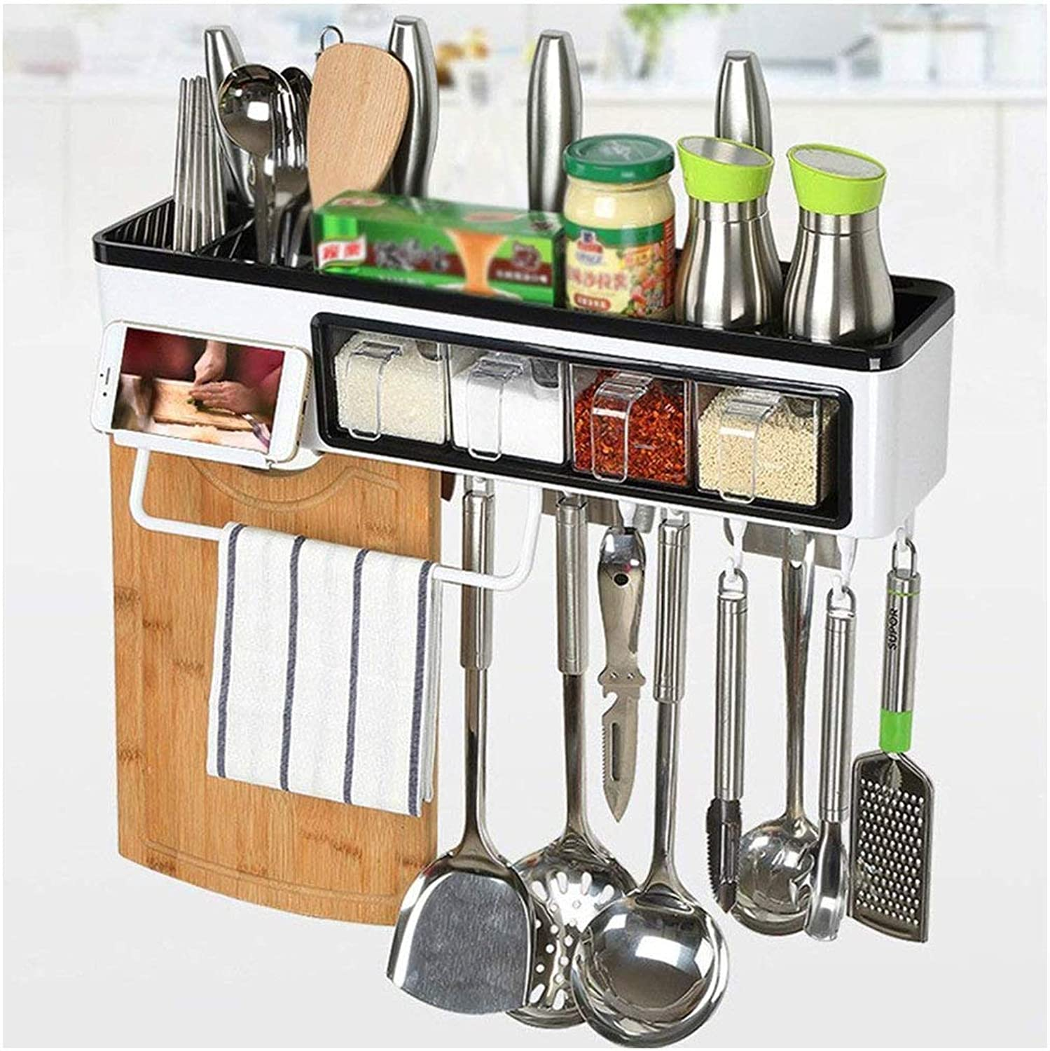 greenical Shelf Unit Shelf Multi-Function Wall Hanging Kitchen kitchenware Supplies Storage Box Flavoring Multifunction (Size   50  12  11cm)