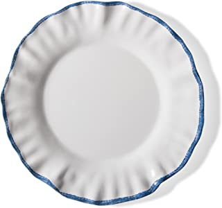 tag - Ruffle Rim Melamine Dinner Plate, Durable, BPA-Free and Great for Outdoor or Casual Meals, Blue/White (Set Of 4)