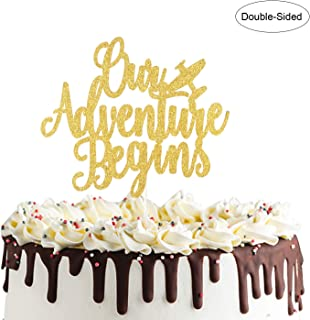 Our Adventure Begins Cake Topper for Going Away Travel Themed Wedding Party Decorations