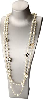 JIAJU Fashion Jewelry for Women Charming Imitation Pearls Flowers Necklace Double Strand Layered Rose Bridal Necklace