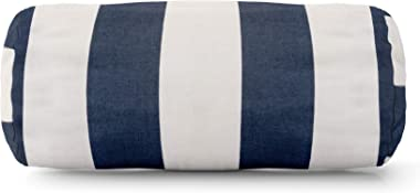 """Majestic Home Goods Navy Blue Vertical Stripe Indoor / Outdoor Round Bolster Pillow 18.5"""" L x 8"""" W x 8"""" H"""