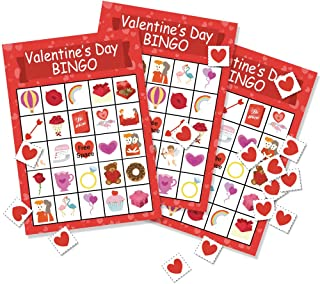 Omgouue Valentine's Day Bingo Game Party Favor - Party Supplies for Kids 24 Player