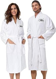 Couple's Terry Cotton Kimono Robe Spa Bathrobe Set - Unisex Hotel Robe with Elegant Script Embroidery