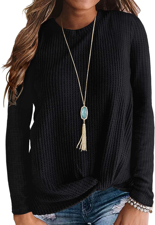 IWOLLENCE Womens Casual Twist Knot Shirts Waffle Tunics Ranking TOP10 Knit Lon Columbus Mall