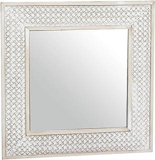 Bois Eideo Home Miroir Mural Marron 40x40 cm Rustique