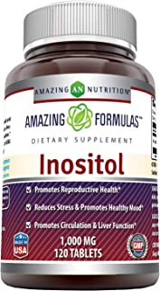 Amazing Formulas Inositol 1000 Mg 120 Tablets (Non-GMO,Gluten Free) - Supports Healthy Liver Function, Promotes Cellular D...