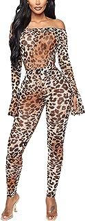 Geagodelia Leopard Bodysuit Damen 2PCS Outfits Bodycon Jumpsuit Damen Strampler für Frauen Party Clubwear Streetwear