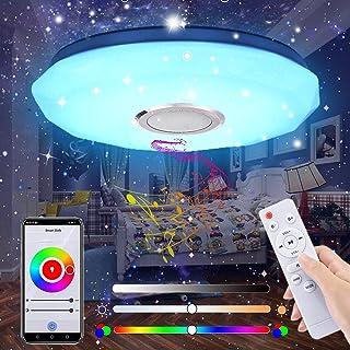 Plafonnier LED, 24W Luminaire Plafonnier avec Haut-parleur Bluetooth Musiqu, Plafonnier Chambre RGB avec télécommande et c...