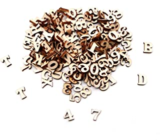 JETEHO 200 Pieces Natural Wooden Letter and Wooden Numbers for Arts Crafts Wedding DIY Decoration Displays (Capital)