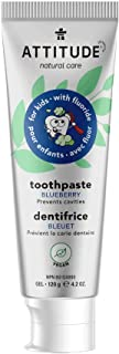 ATTITUDE Kids Natural Toothpaste with Fluoride, Prevents Tooth Decay and Cavities, Vegan and Sugar-Free, Blueberry, 120 grams