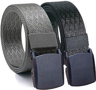 "Hoanan Mens Nylon Belt, Tactical 2 Pack 28-50"" Waist Casual Work No Metal Web Belt (black + grey, Paint size up to 50"")"