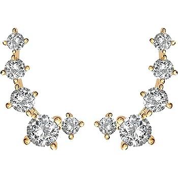 PAVOI 14K Gold Plated Cubic Zirconia Ear Crawler | Cuff Earrings | Hypoallergenic Stud Ear Climber Jackets