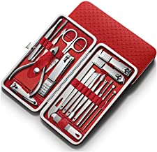 HANA Manicure Pedicure 16 Tools Set Nail Clippers Stainless Steel Professional Nail Scissors Grooming Kits, Nail Tools wit...