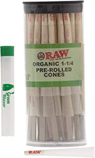 Raw Pre-Rolled Cones Organic 1 1/4: 50 Pack - Hemp Rolling Papers with Filters to Smoke Tobacco Or Roll Cigarettes - Extra Clean & Slow Burning Cone Made of Pure Hemp - Doob Tube Included