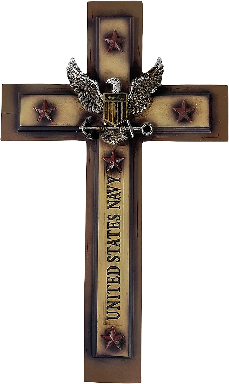 Urbalabs United States US Navy Distressed Armed Forces 20 Inch Wall Hanging Wall Cross Decor American Flag Military Home Stars Stripes Support Our Troops Deployment Gifts (Navy 20 Inch)