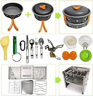 Camping Cookware Kit for 2-4 Person with Camp Stove and Stove Stand - Non-Stick Portable Pots Pans Foldable Stainless Stee...