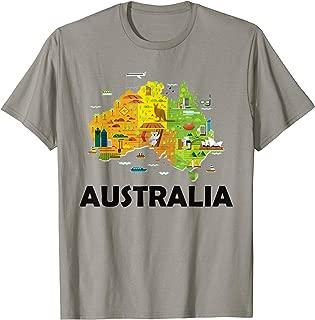 Australia T-Shirt Australian Elements Fun Map Ocenia Tee