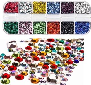 Dorhui Hotfix Flatback Rhinestones Glass Rhinestones, CrystalRhinestones Hot Fix Stones Iron on Glue Glass Flat Back Gemstones AB Crystals 4800 Pieces 12 Color 3 Size 2-4 MM (SS6-SS16) in Storage Box